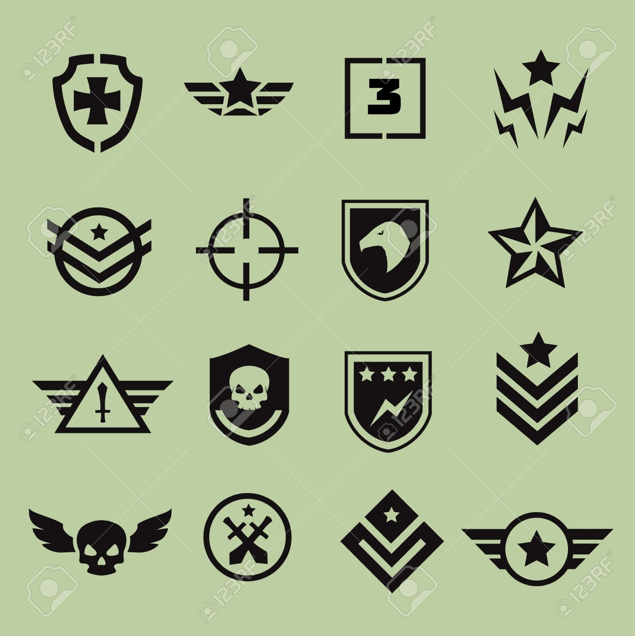 Military symbol army icons black isolated