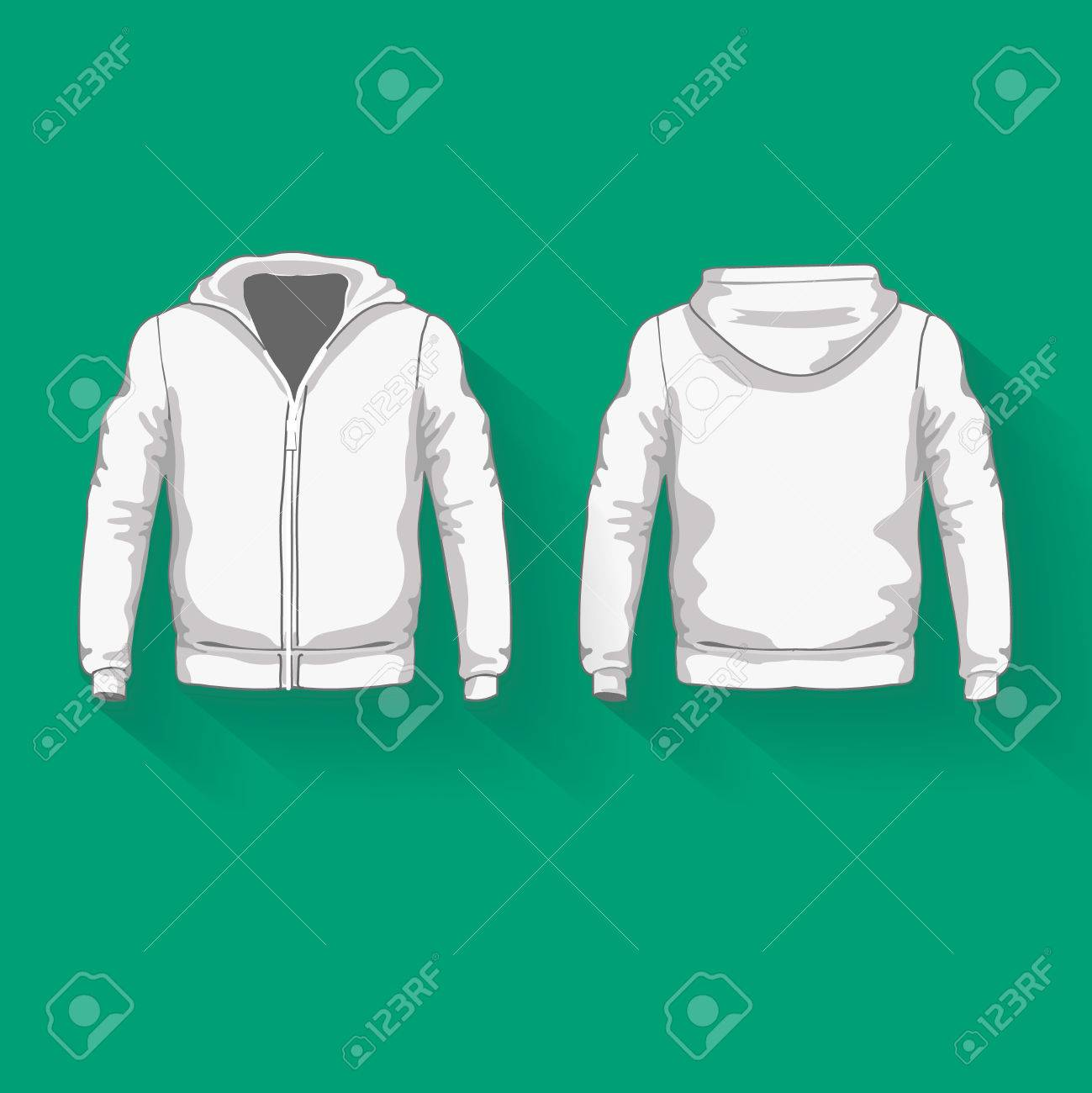 Mens Hoodie Shirts Template. Front And Back Views. Vector ...