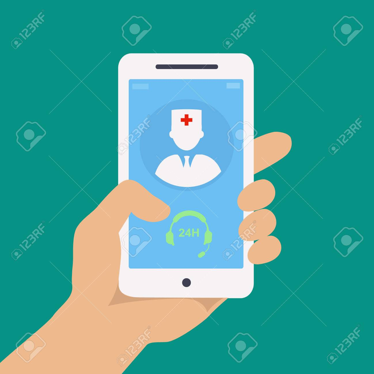 Vecto flat concept web design of hand holding mobile phone with medical assistance and doctor consultation online icon - 40186716
