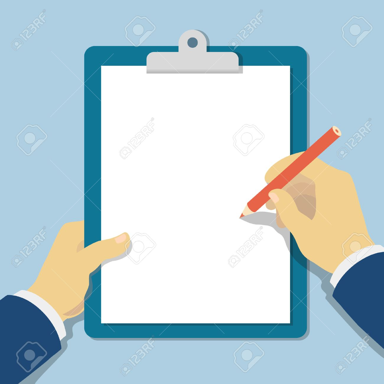 Vector modern flat illustration hands holding clipboard with empty sheet of paper and pencil - 40274551