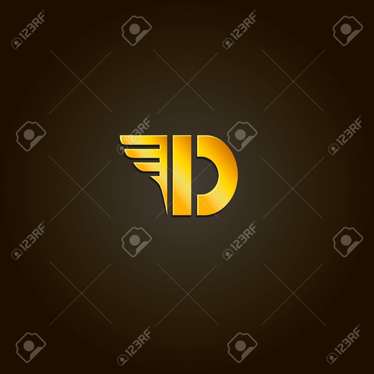 Letter D Vector Gold Font Template For Company Logo Design
