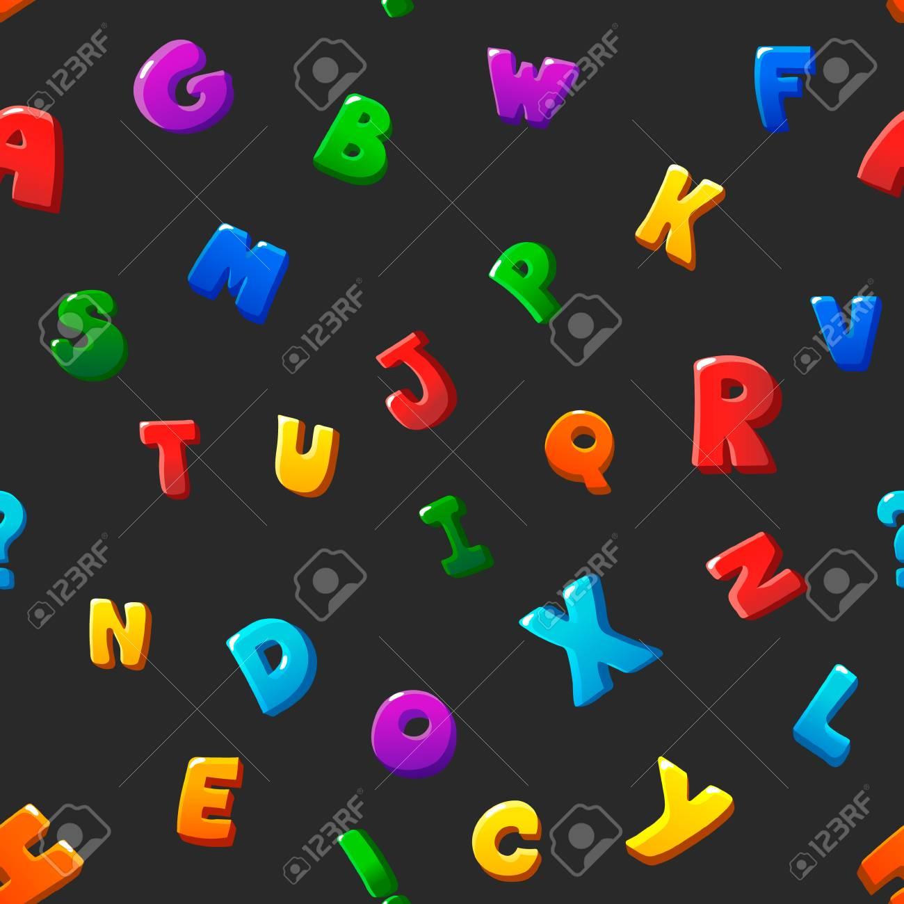 seamless pattern cartoon kids alphabet bubble letters on black background stock photo 42202481