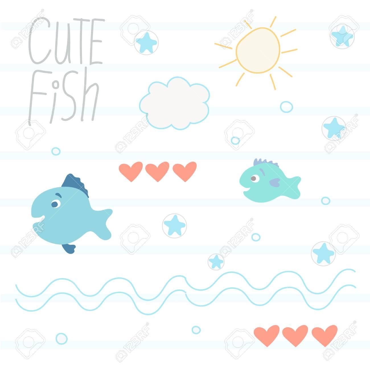 かわいい魚イラスト ロイヤリティフリークリップアート、ベクター