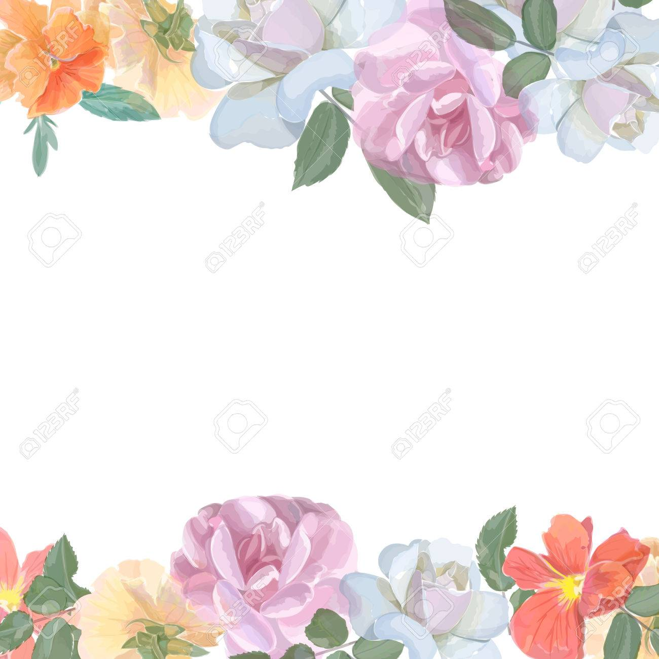 Watercolor greeting card with roses, for invitation or wedding, birthday and other holiday and summer background. Vector - 43498652