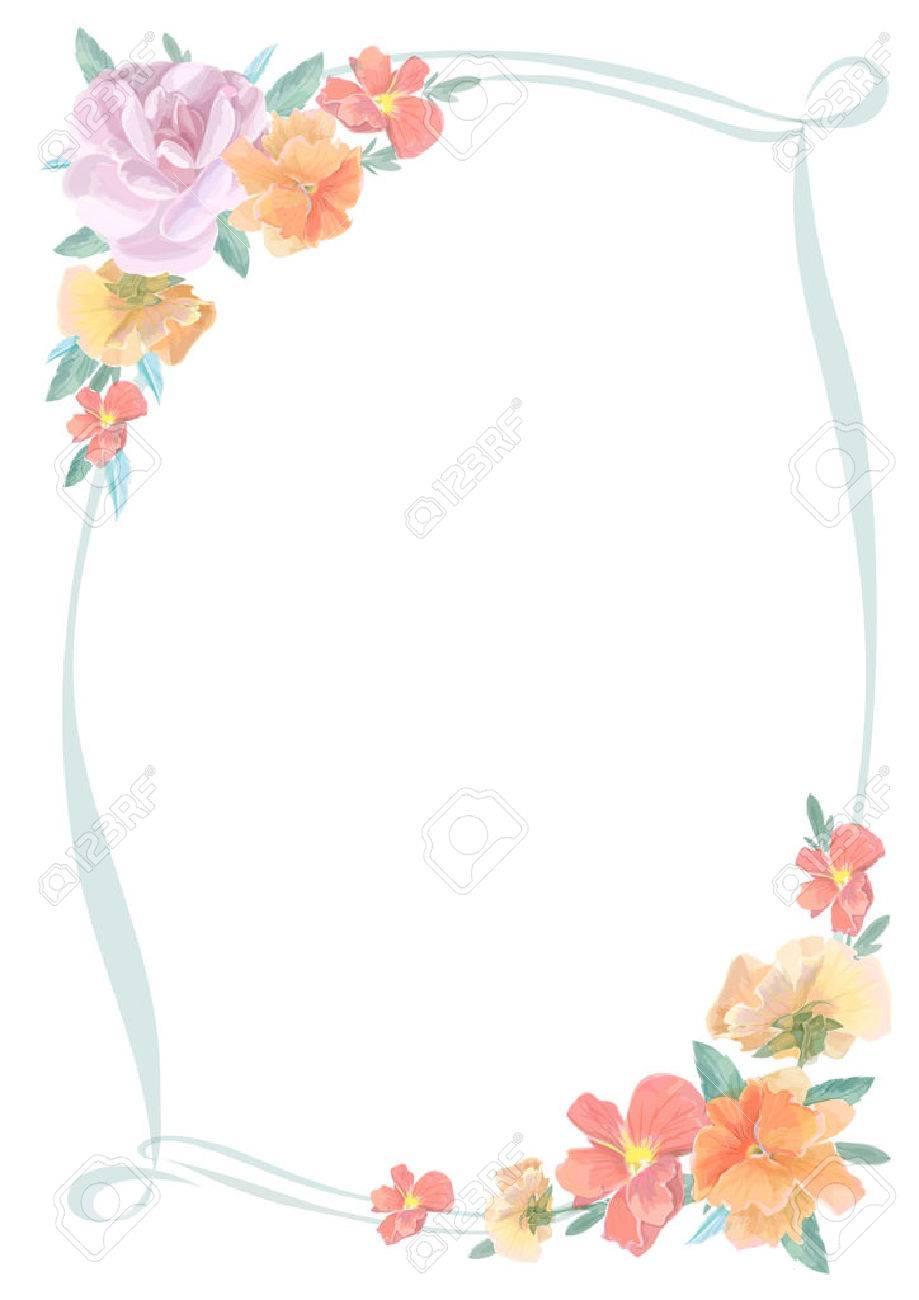 Aquarelle Carte De Voeux Avec Des Roses Invitation Ou Pour Mariage Anniversaire Et Un Autre Jour Ferie Et Le Fond De L Ete Vecteur Clip Art Libres De Droits Vecteurs Et Illustration