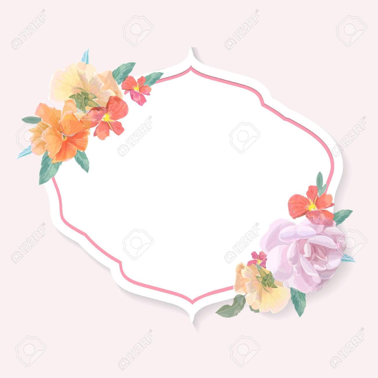 Vintage Grusskarte Mit Bunten Blumen Fur Einladung Oder Hochzeit