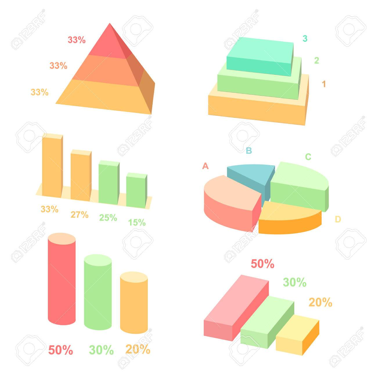 Isometric 3d Vector Charts Pie Chart And Donut Chart Layers