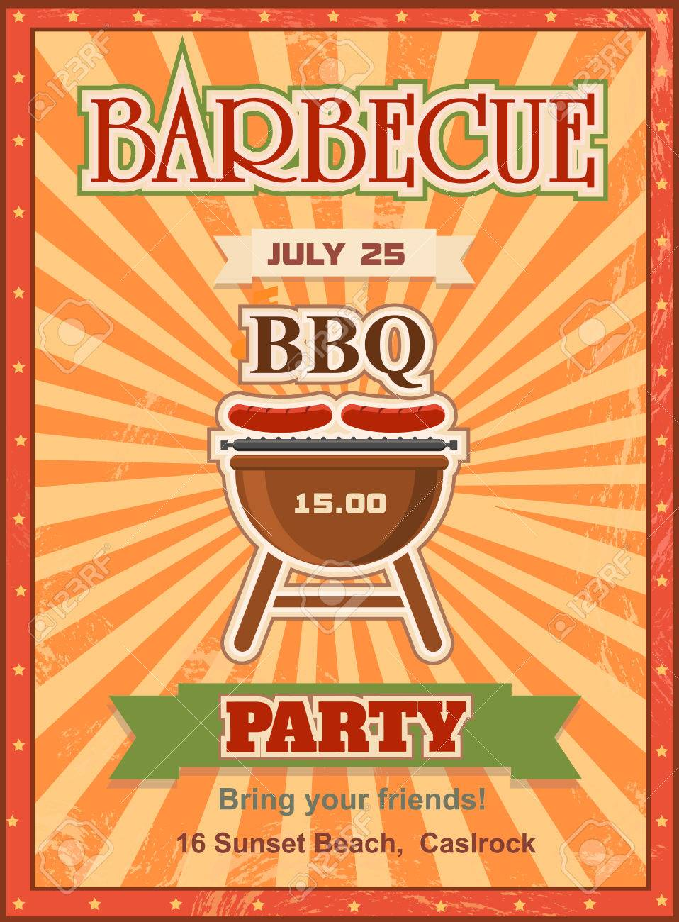 Invitation card on the barbecue design template cookout poster invitation card on the barbecue design template cookout poster design with charcoal grill sausages on pronofoot35fo Images