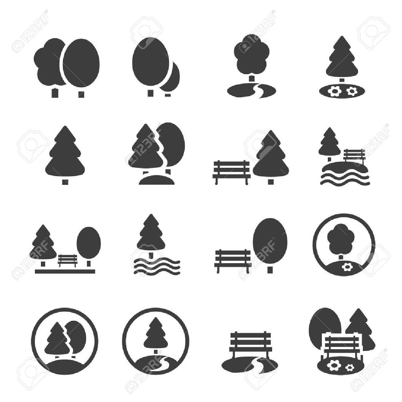 park icon set trees forest and bench vector icons royalty free cliparts vectors and stock illustration image 47434716 park icon set trees forest and bench vector icons