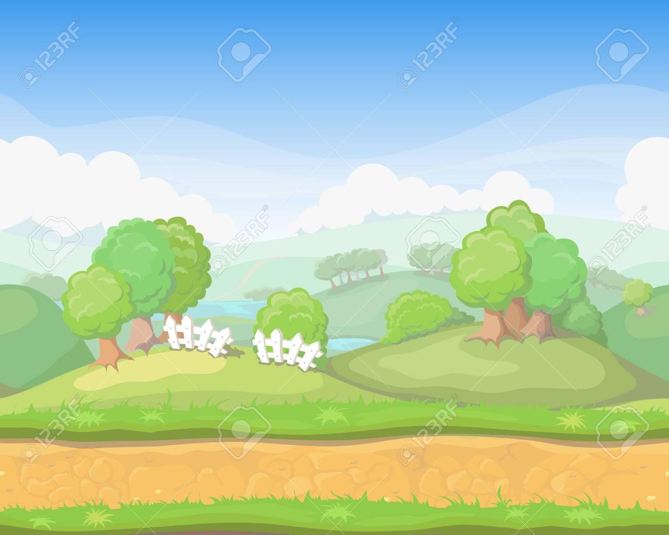 漫画かわいい国シームレス水平風景、ゲームの背景イラスト ロイヤリティ