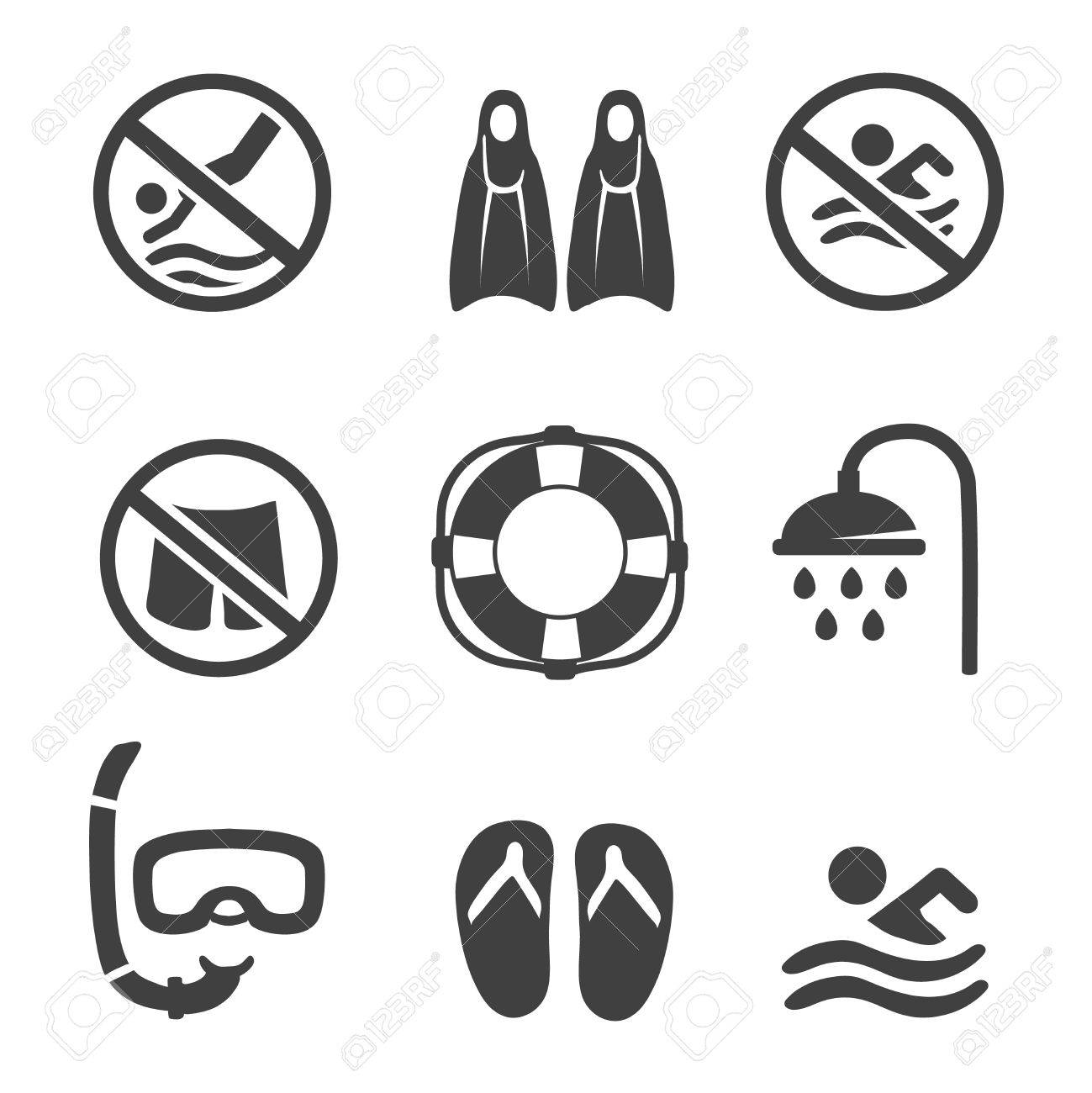 Swimming Pool Icons Diving Mask Flippers And Shower Sport Set Stock
