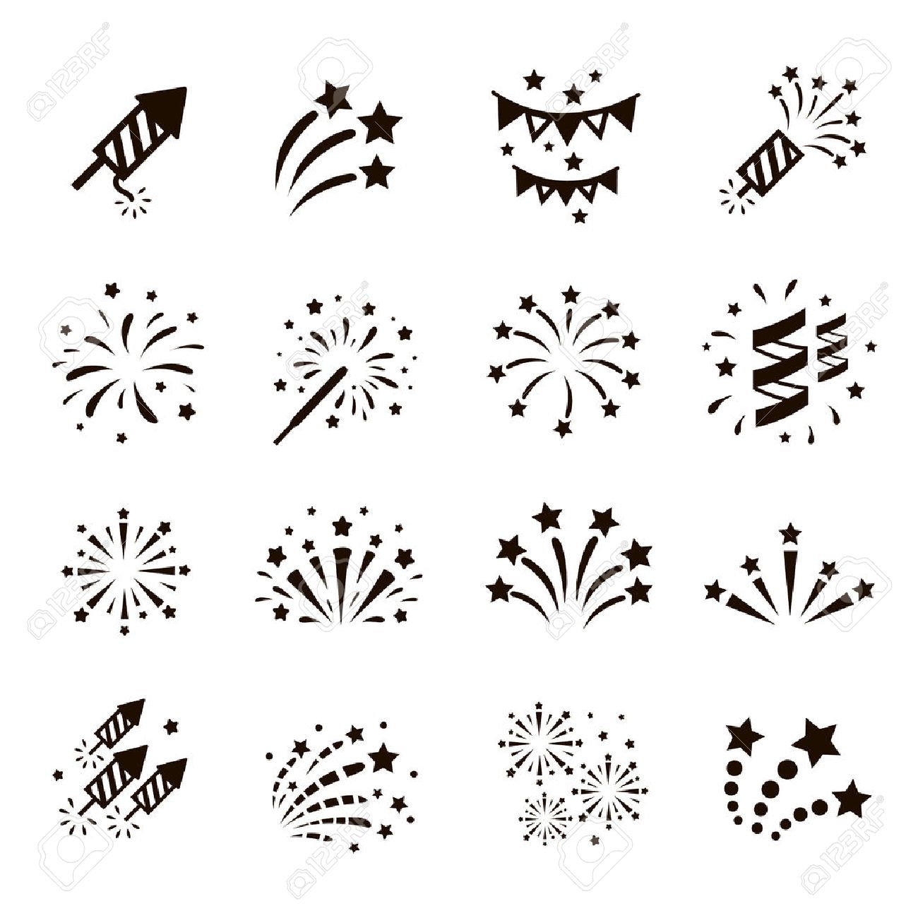 Firework icon set with petard, stars. Festival and event, celebrate and party. Vector Stock Vector - 50148386