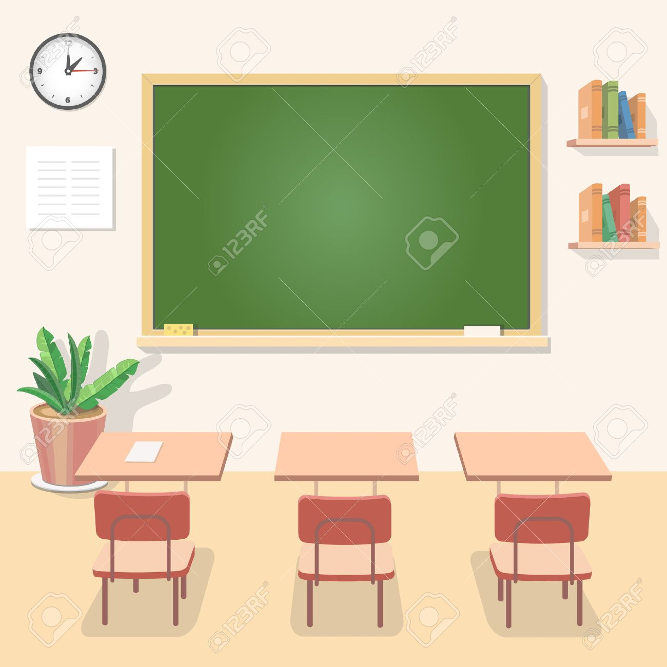 classroom table vector. school classroom with chalkboard and desks. class for education, board, table study vector