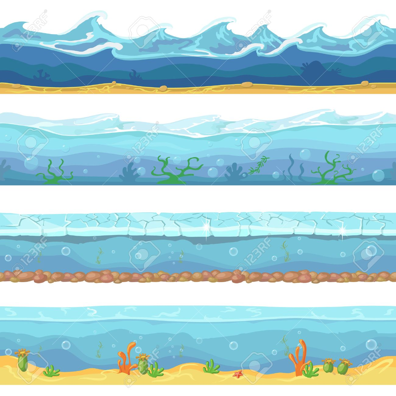 water waves or ocean sea seamless backgrounds set for ui game