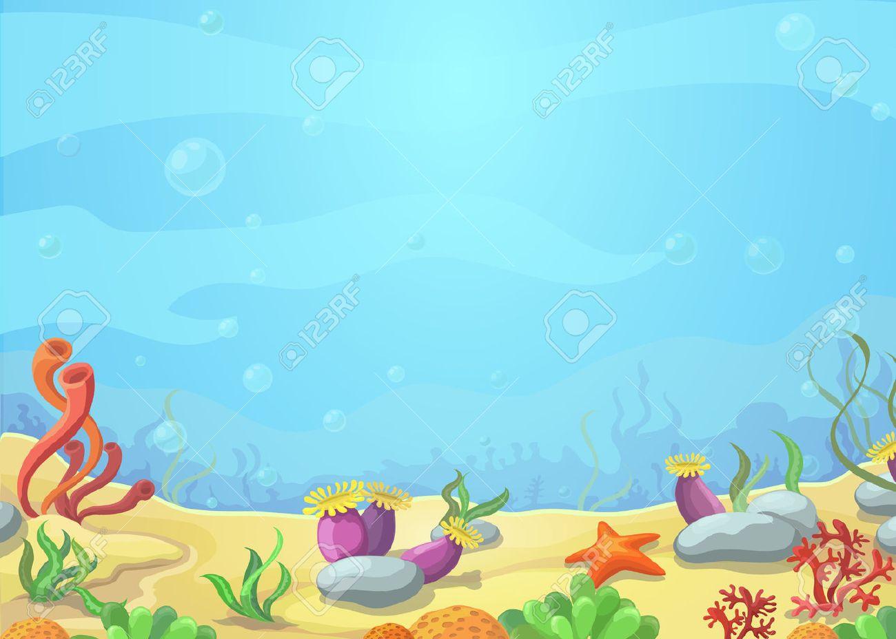 Underwater cartoon world - blue sea landscape, starfish, vector illustration - 53159045