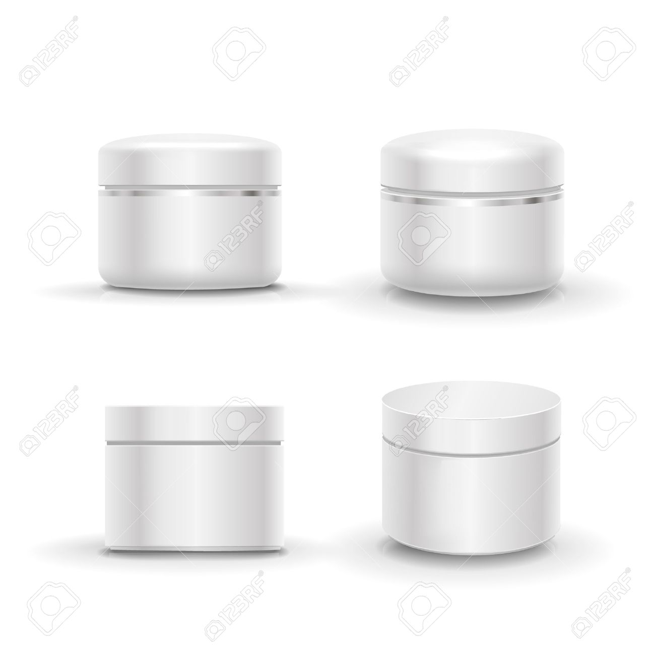 Blank cosmetic package container set for cream, powder or gel. Isolated vector - 53159236