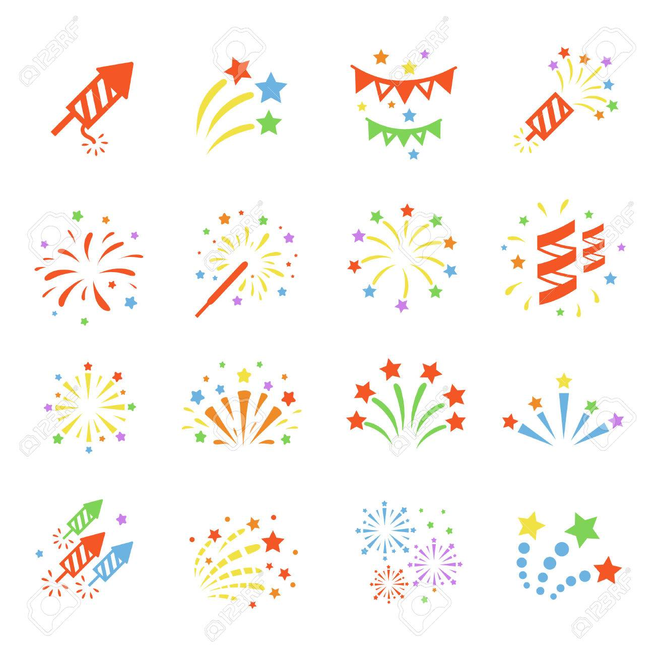 firework colored icon set with burst petard stars festival rh 123rf com party factory leiden party factory netherlands
