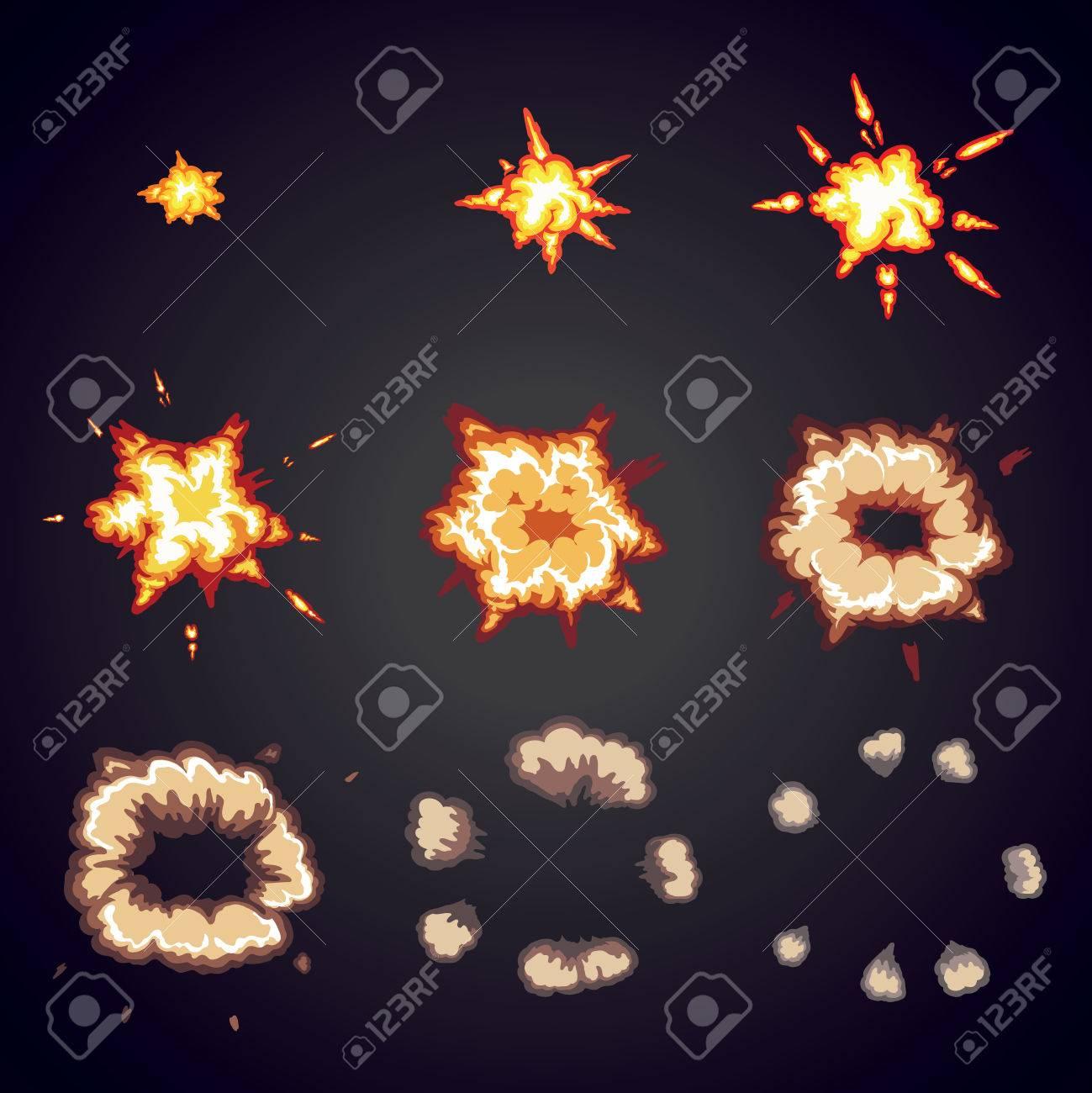 Explode effect animation. Cartoon bang explosion frames for game design. Vector - 53159423