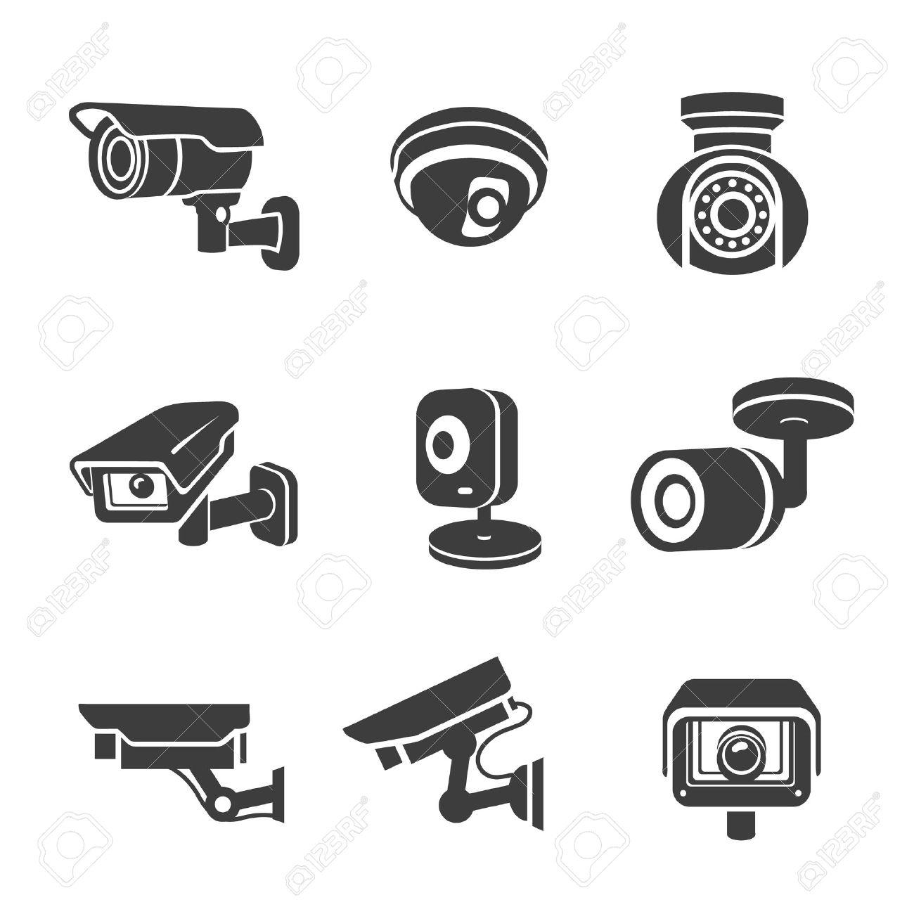 Video surveillance security cameras graphic icons pictograms set vector - 54602589