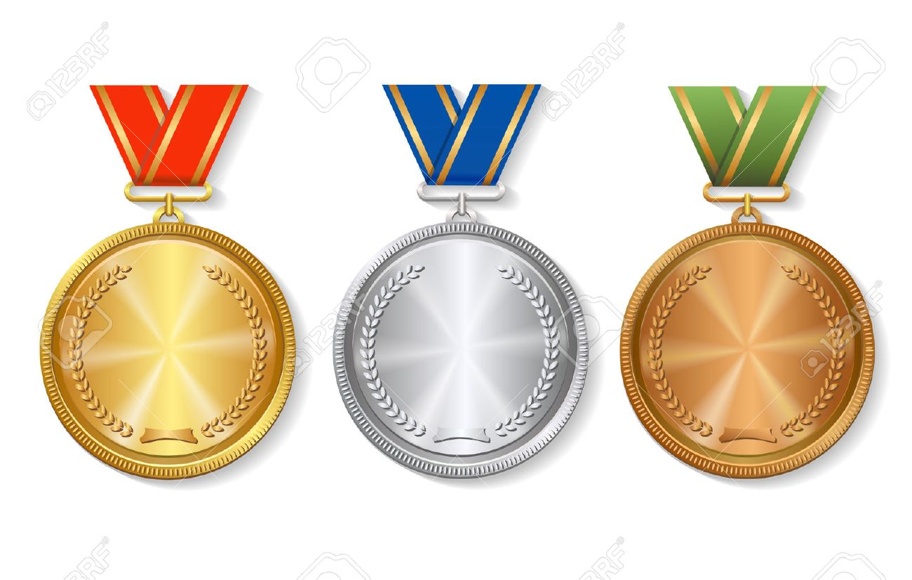 Set of gold, silver and bronze Award medals set on white background - 54602145