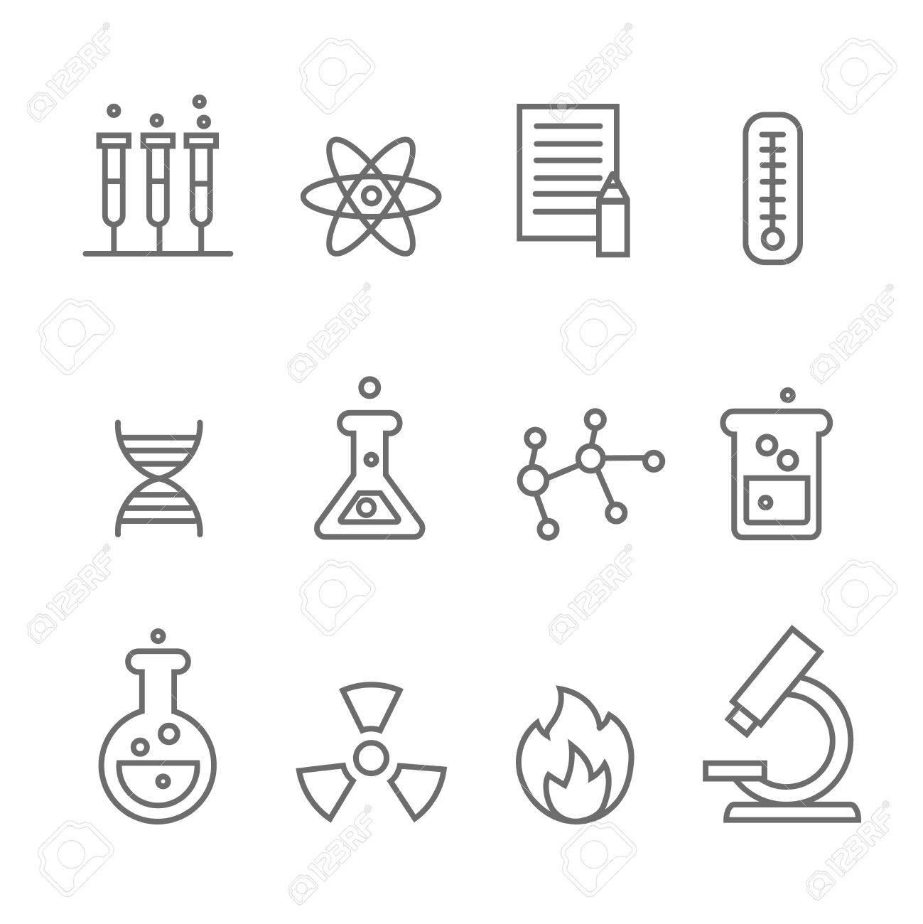 Química Y Bio Tecnología Iconos De Línea De La Ciencia Biología Molecular Molécula De La Estructura Ilustración Vectorial