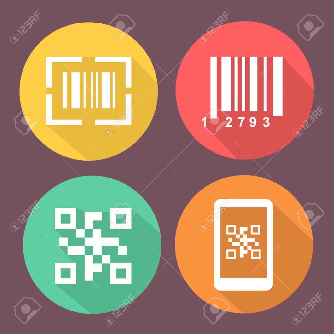 smartphone symbols with scan barcode circle flat colored buttons