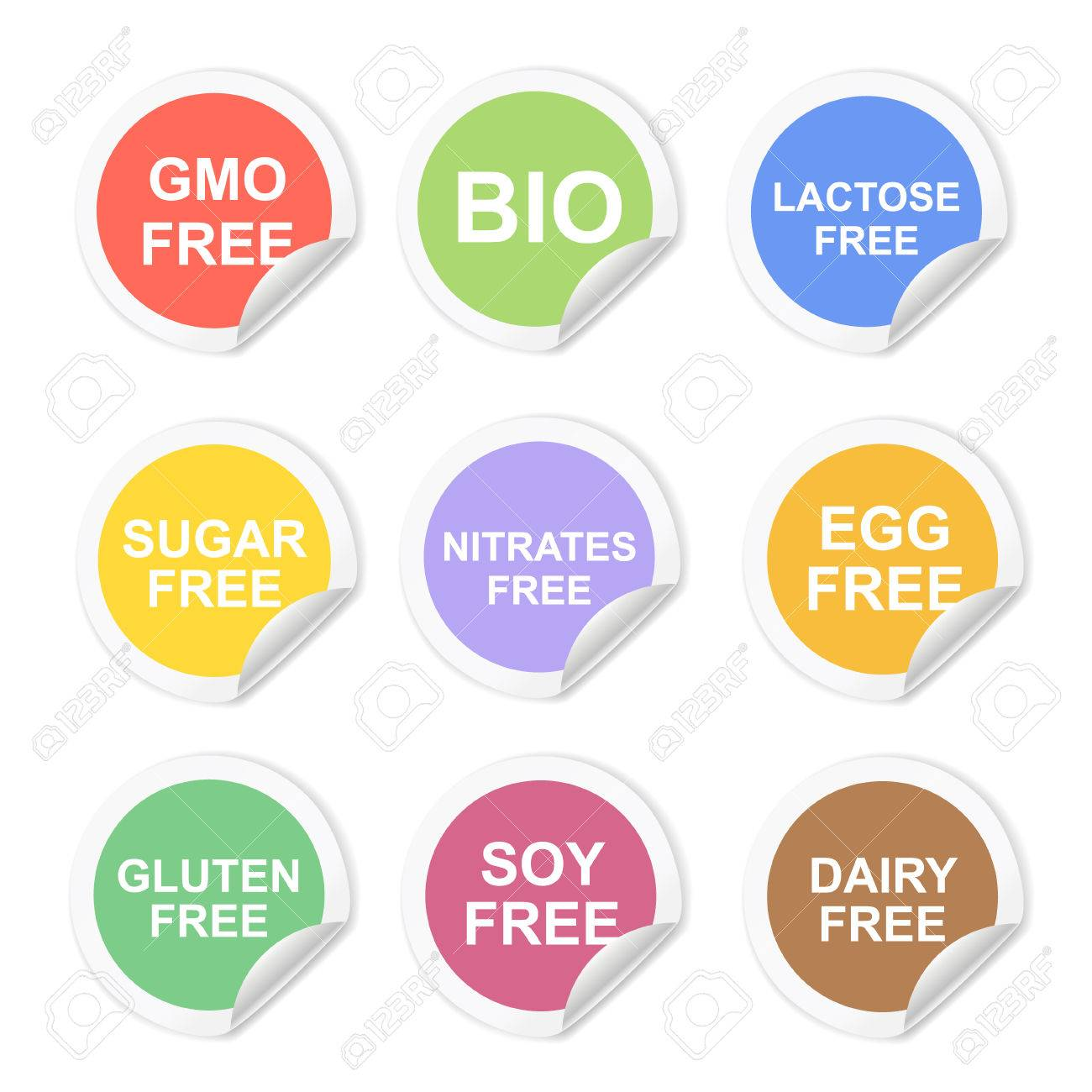 vector food dietary labels icon set gluten and sugar gmo free rh 123rf com vector labels free vector labels free