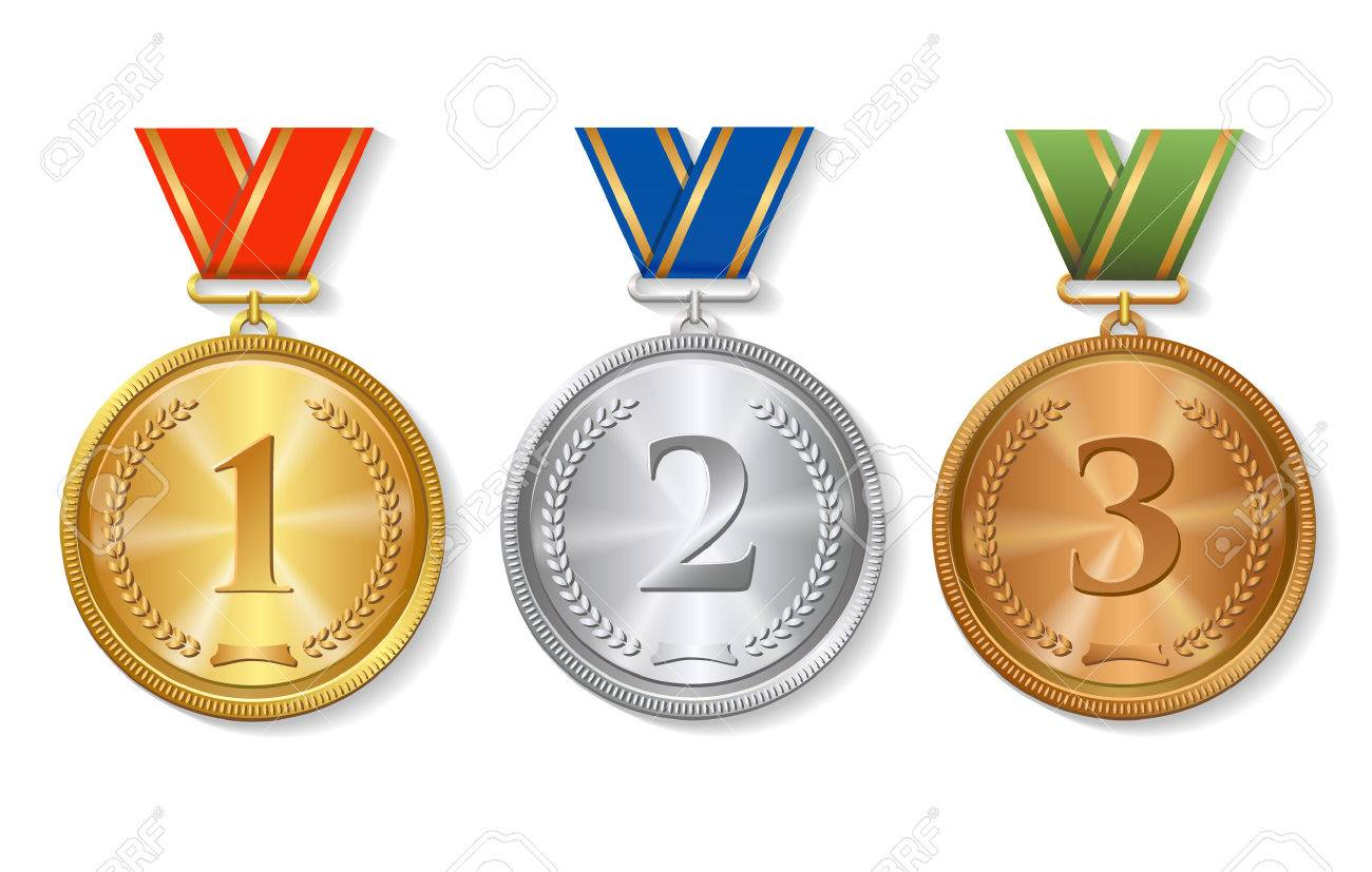 Vector Award gold, silver and bronze Medals Set isolated - 54711661