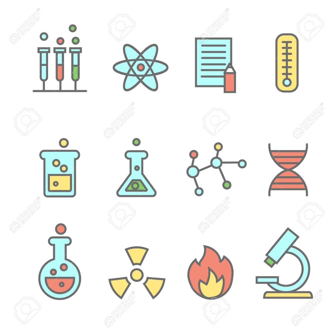 Científicos Iconos Experimentos La Línea De La Química Y La Tecnología De Los Biocombustibles Coloreado