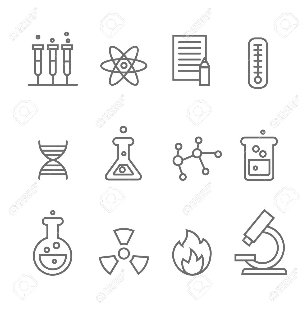 Línea De Iconos De La Ciencia Química Y Bio Tecnología Biología Molecular La Estructura De La Molécula Ilustración