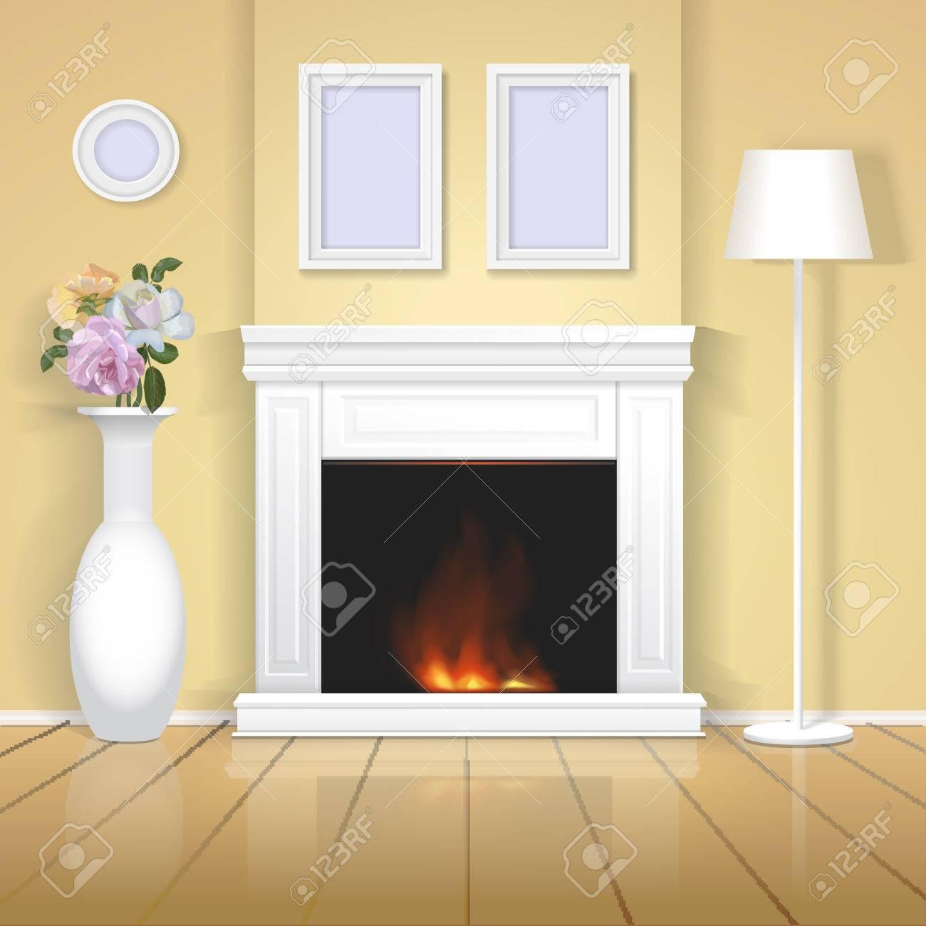 Banque Du0027images   Intérieur Classique Avec Cheminée Illustration. Home  Design Réaliste Vecteur De Chambre Classique Avec Vase