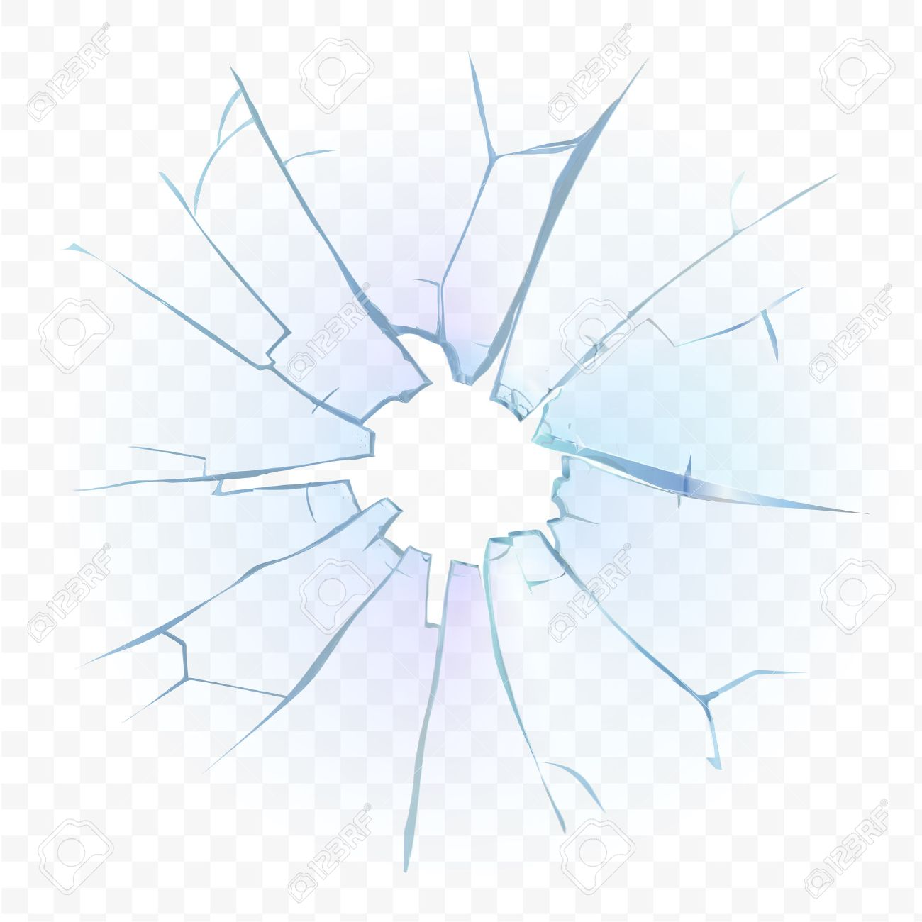 Broken transparent glass or frosted window pane on checkered plaid background. Vector illustration. - 59952239