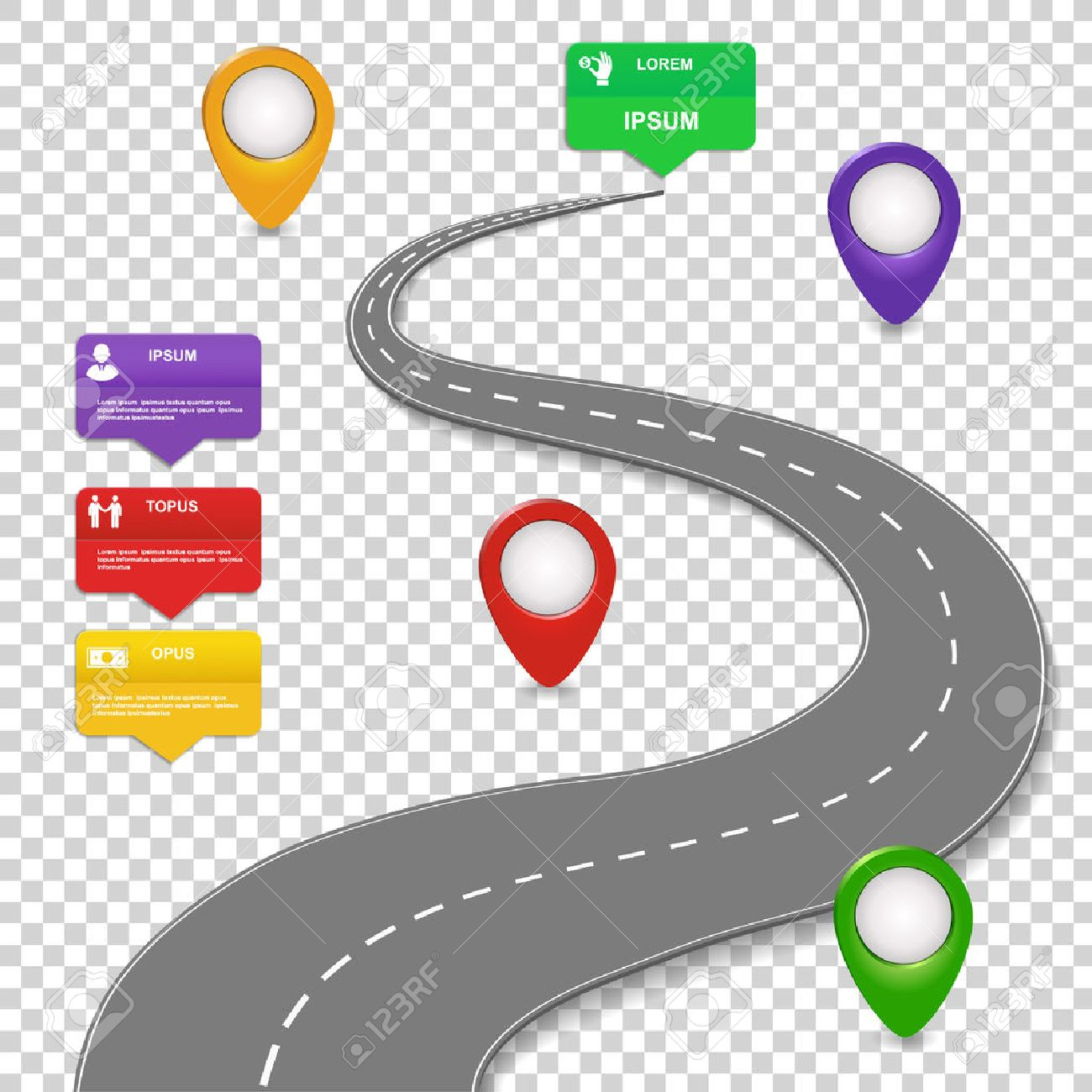 navigation infographics design concept with car road roadmap with map pins sign or