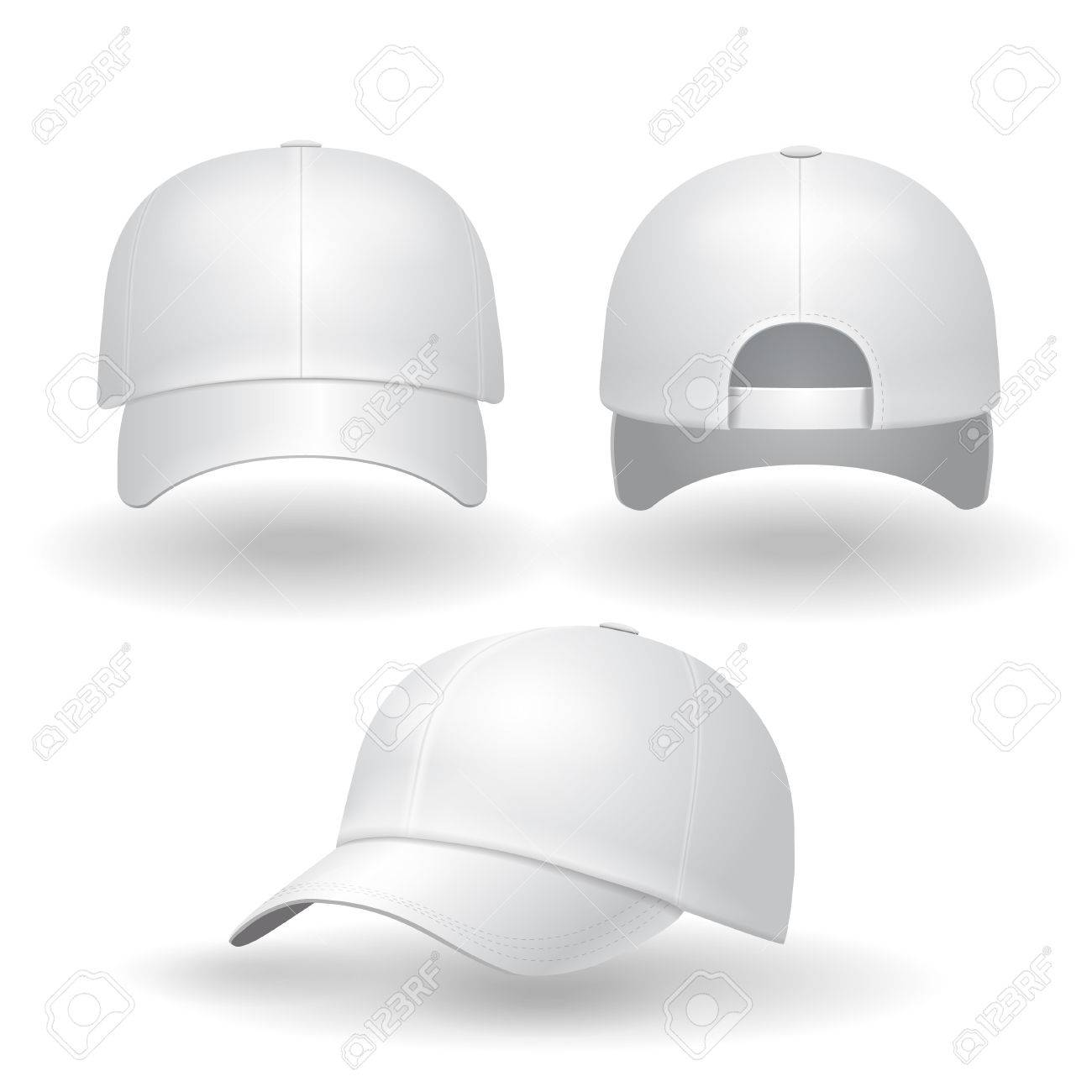 Establece la gorra de béisbol blanca realista. Volver vista frontal y  lateral aislada en el 9f1318da6e2