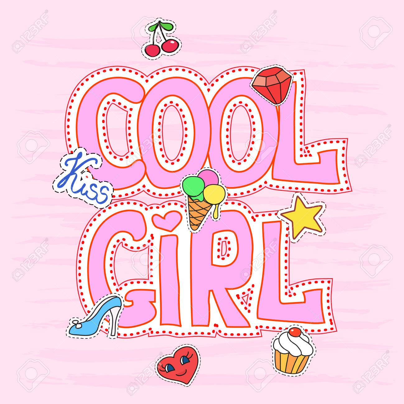 Cool Girl Slogan Graphic With Patches, Pretty Fashion Girlish ...