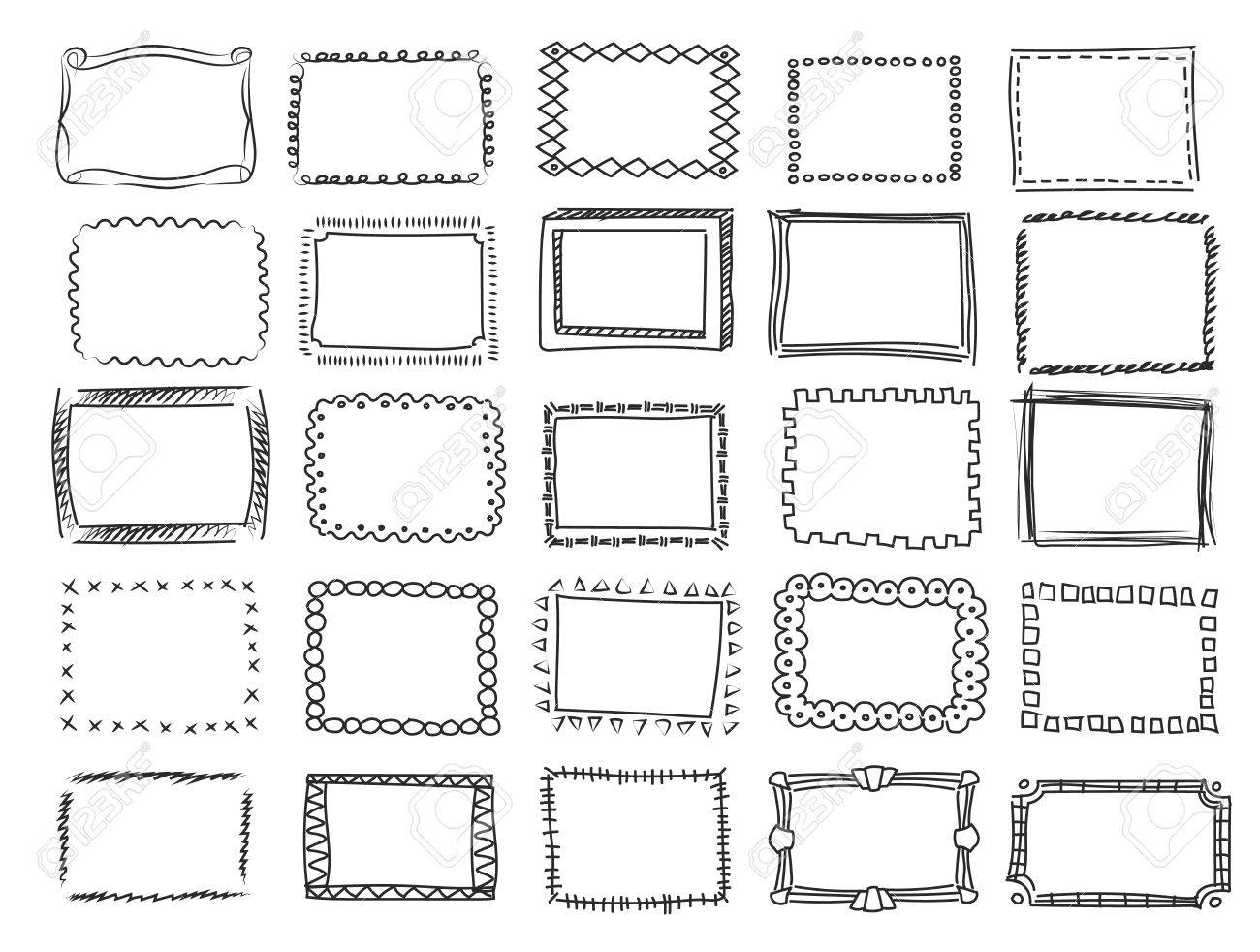 Simple Doodle Sketch Square Vector Frames Pencil Effect Collection