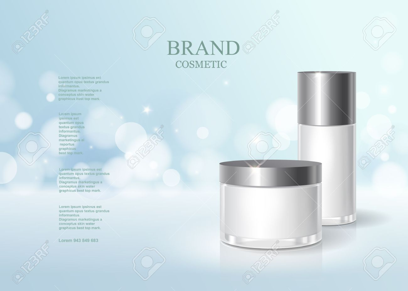 Cosmetic blue bottle package design with moisturizer cream or liquid, skin care product poster, sparkling background vector design. - 71001907