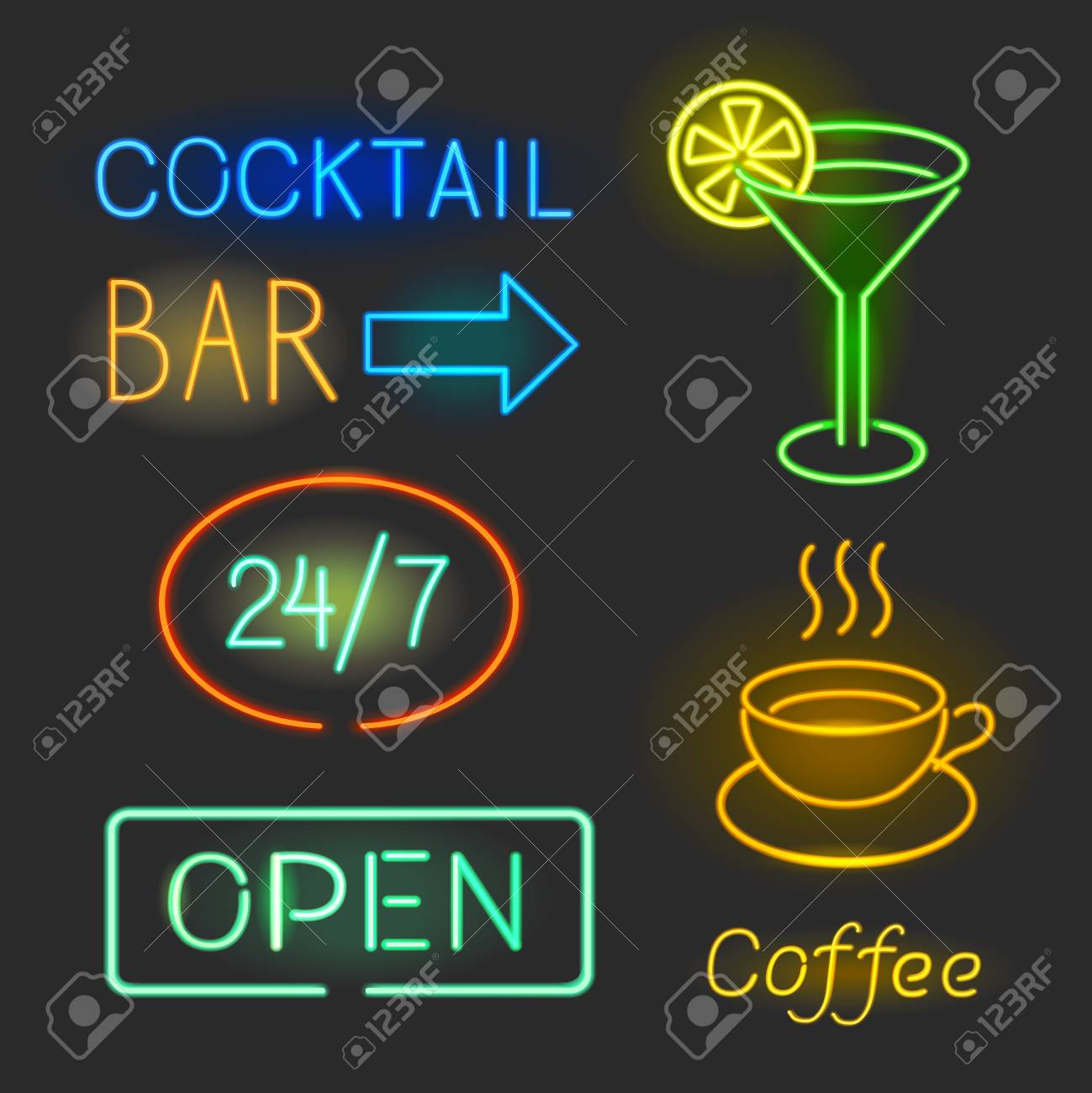 Colorful Glowing Neon Lights Graphic For Cafe And Bar