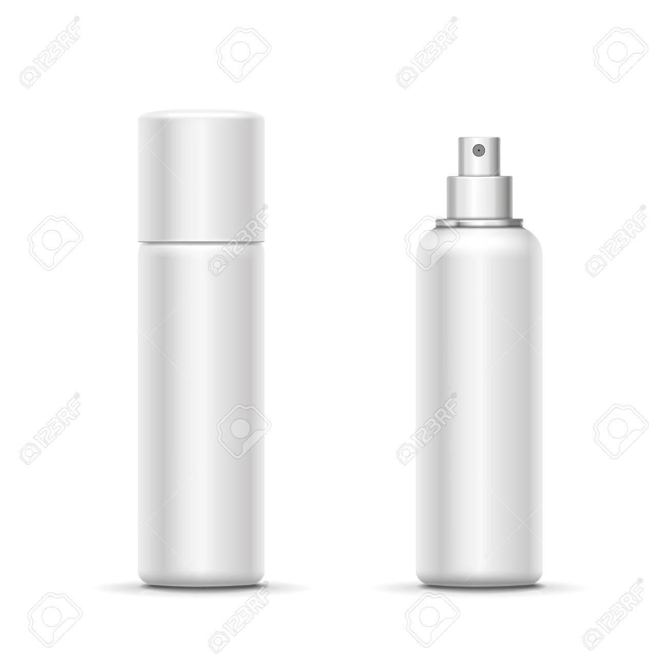 Blank metal bottle with sprayer cap  Cosmetic deodorant template