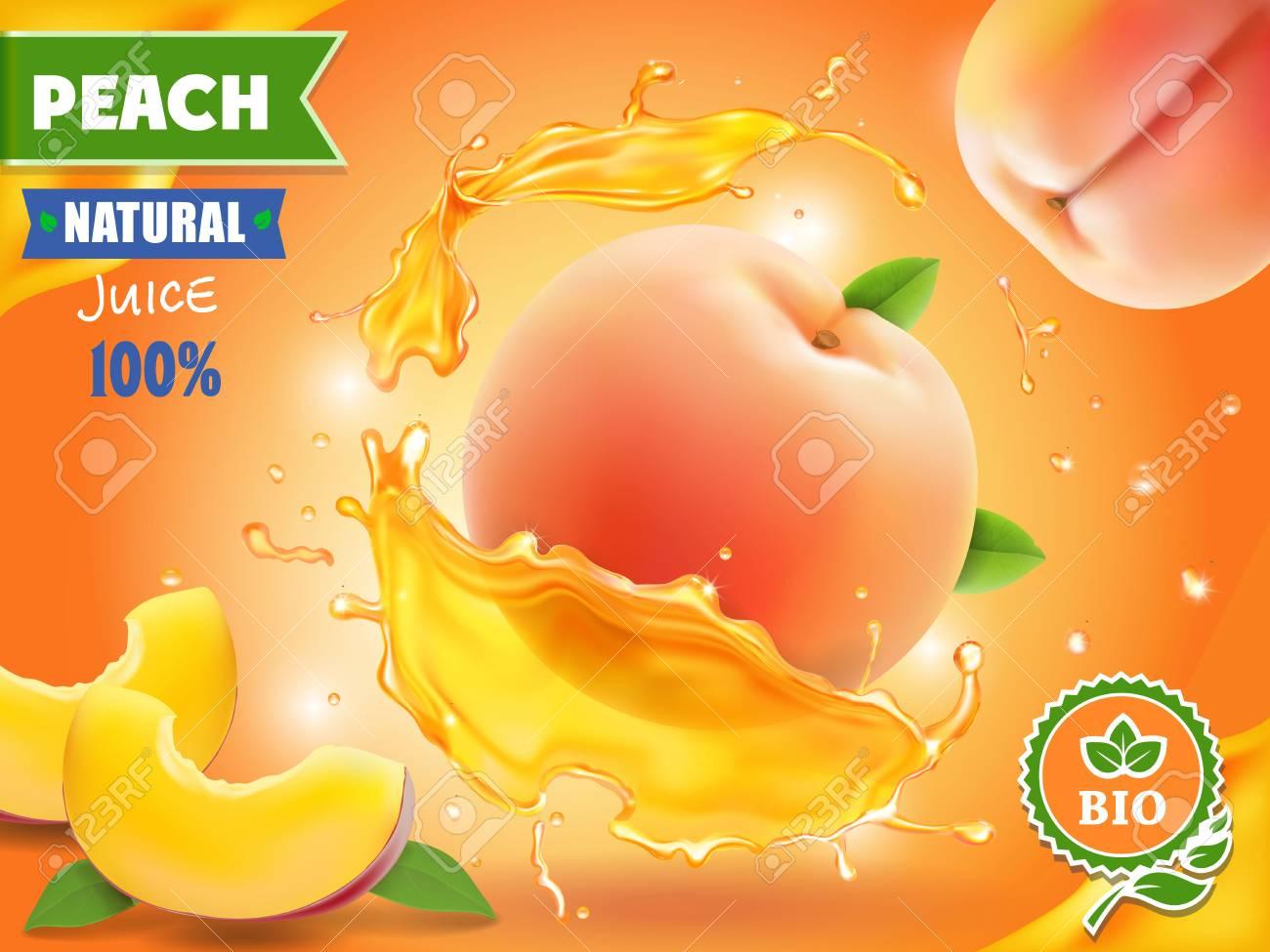 Peach juice. Realistic splash of juice with peach advertising. - 92149007