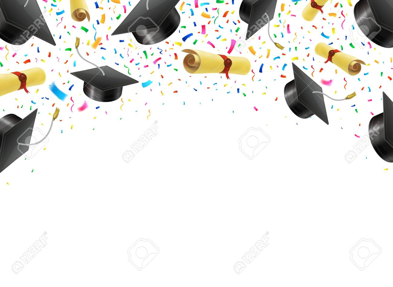 Graduate caps and diplomas flying with multi colored confetti. Academic hats in air with ribbons. - 123408209