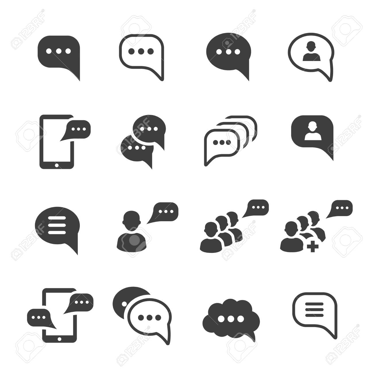 Speech message talk text bubble icons set - 138382249