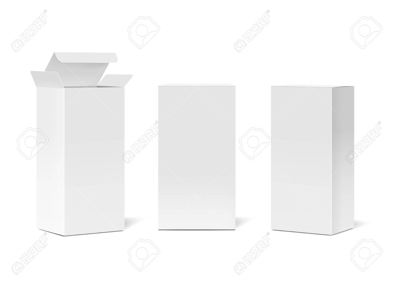 Realistic cardboard boxes mockup set. Cosmetic or medical blank white packaging front and perspective views. Vector illustration - 139093772