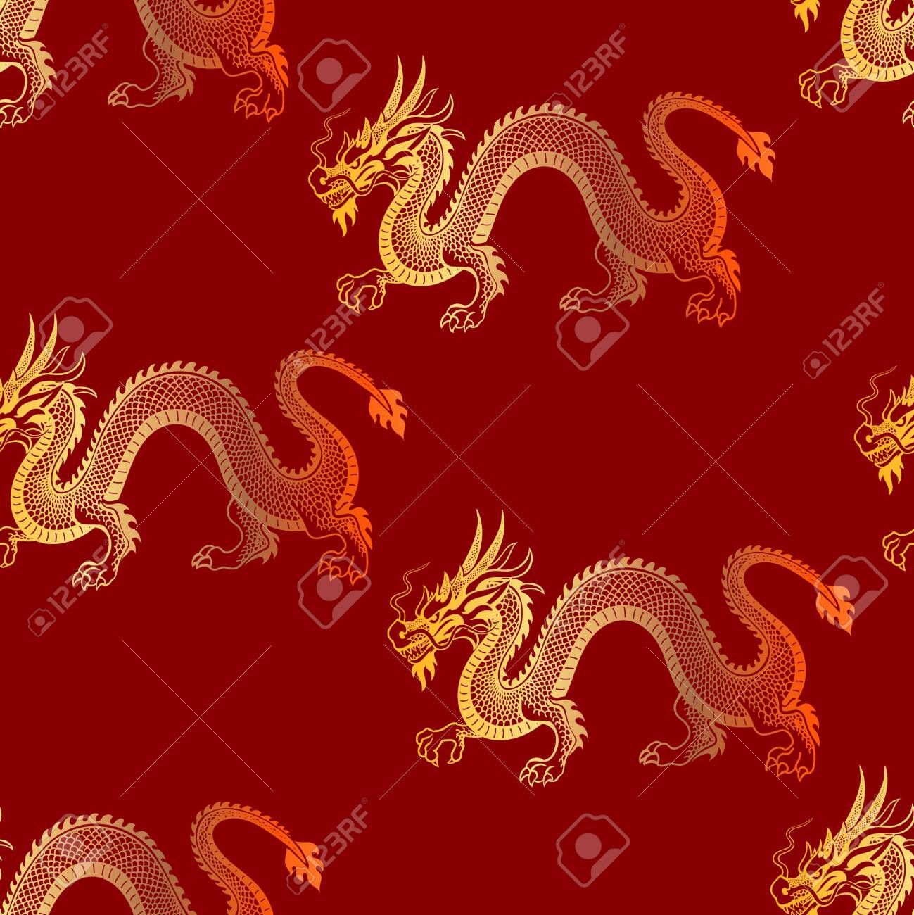 new golden dragon seamless