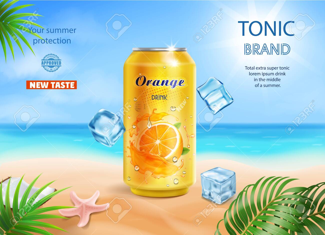 Soft Drink Orange Flavor Contained In Yellow Metal Can On Tropical ...