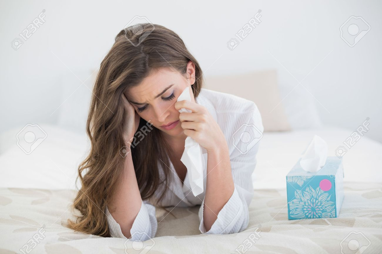 Men And Women In Bedroom Depressed Casual Brown Haired Woman In White Pajamas Crying On