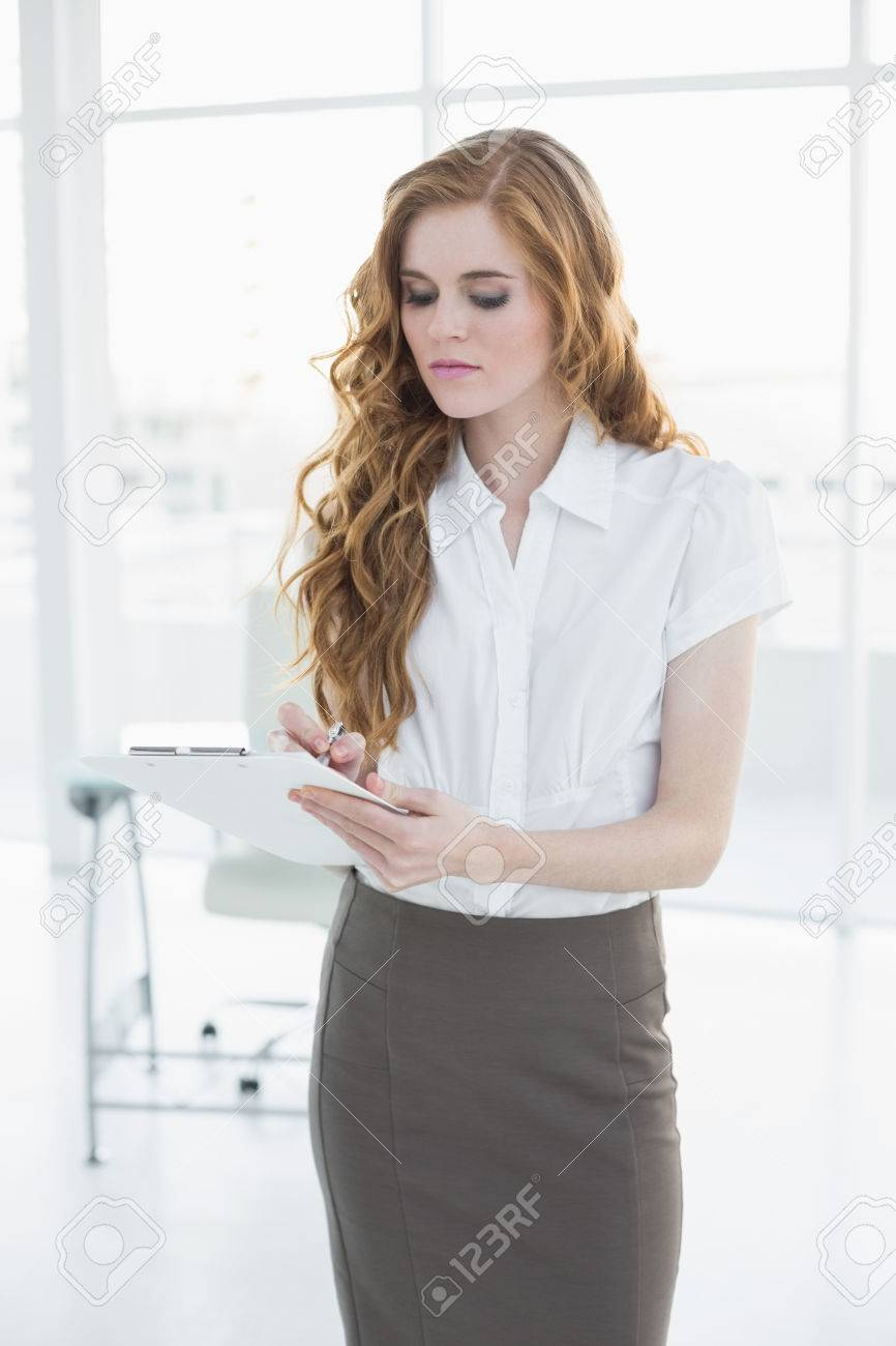 Young elegant businesswoman writing notes in a bright office Stock Photo - 25463857