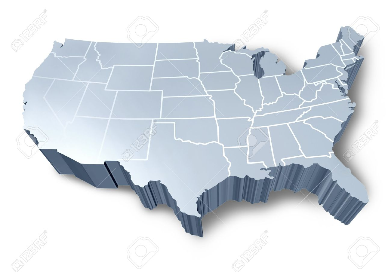 U.S.A 3D Map Isolated Symbol Represented By A White And Grey