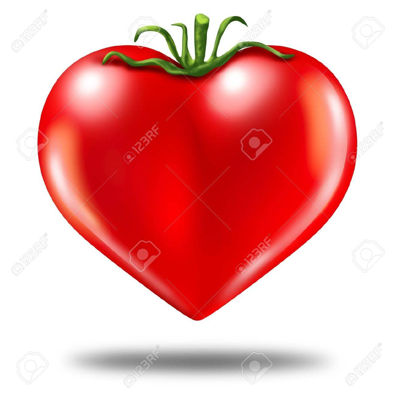 Healthy Lifestyle Symbol Represented By A Red Tomato In The Shape ...