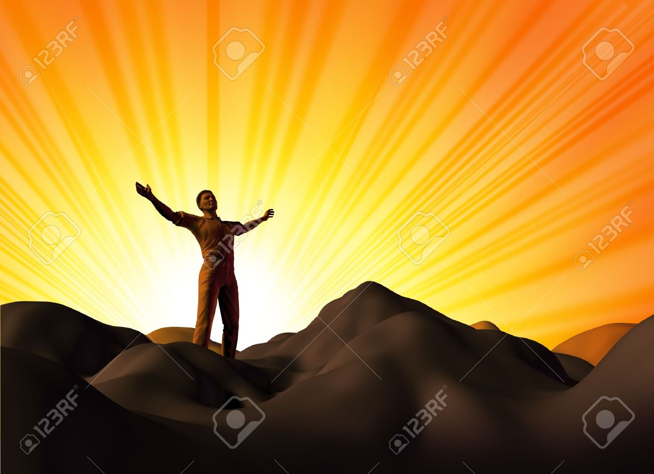 Worship and faith symbol represented by a man on a mountain top with his arms open on a glowing sunset background showing the concept of God and spirituality. Stock Photo - 10299797